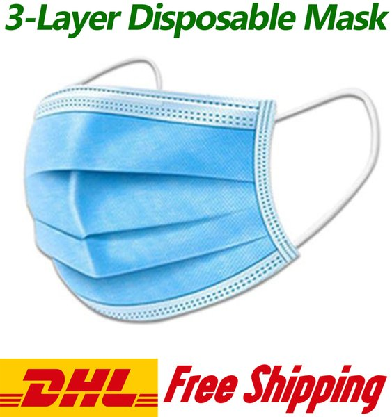 disposable protective face mask, dust mask, ce certification, 3-layer non-woven plus melt blown cloth, dhl express