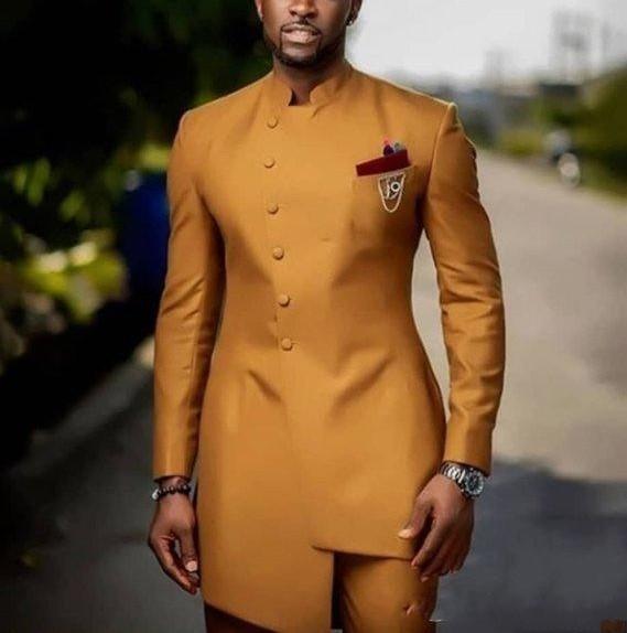 L'oro collare del basamento Suits Mens Serge sposa abiti sposo Terno Masculino Prom Abiti Slim Fit Due Pezzi Jacket + Pant di alta qualità
