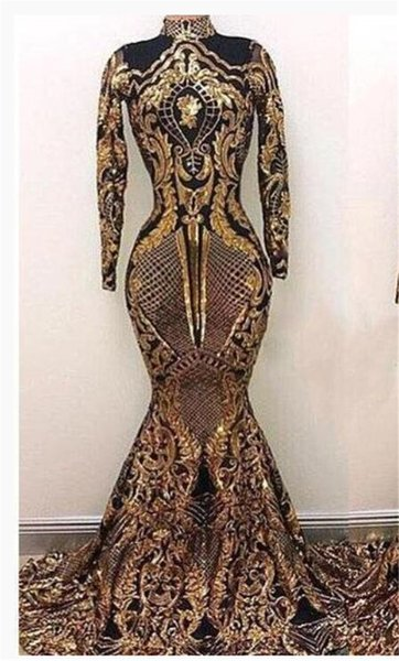 Gold Sequined Mermaid Prom Dresses 2019 Stunning High Neck Sheer Long Sleeve Muslim Formal Evening Party Gown Custom Celebrity Pageant Dress