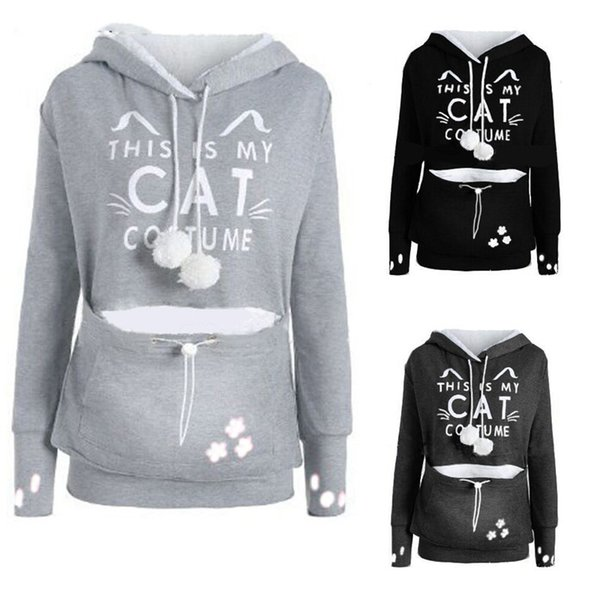 Oversized Hoodies This Is My Cat Letter Printed Cute Holder Pouch Pocket Women Hoodies Kawaii Cat Sweatshirt Female Plus Size