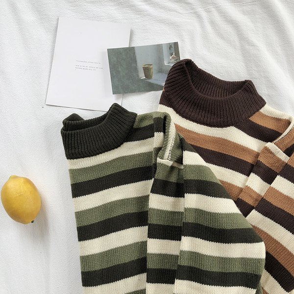 Mooirue Autumn Winter Female Korean Style Jumper Stripe Thin O-Neck Knitting Loose Pullover Feminine Green Brown Sweater Tops Y190923