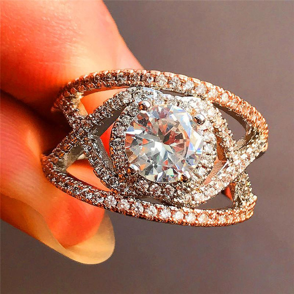 Aaaaajewelry Elmas Kadın Beyaz Çapraz Infinity Yüzük Moda Gümüş Pembe Altın Renk Düğün Takı Kadınlar İçin Promise Aşk Alyans