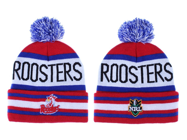 df1c1f981 2019 New Arrival Men'S Sport National Rugby League Knitted Beanies Fashion  Sydney Roosters Beanie Caps Cheap NRL Pom Pom Cuff Skullies Hats Knitted ...