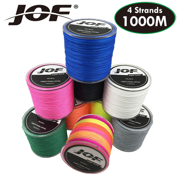 JOF Fishing Line 4 Strands PE Braided 1000M Multifilament Rope Carpfishing Carp Japan Multicolor Weave Strong Fishing Braid Line