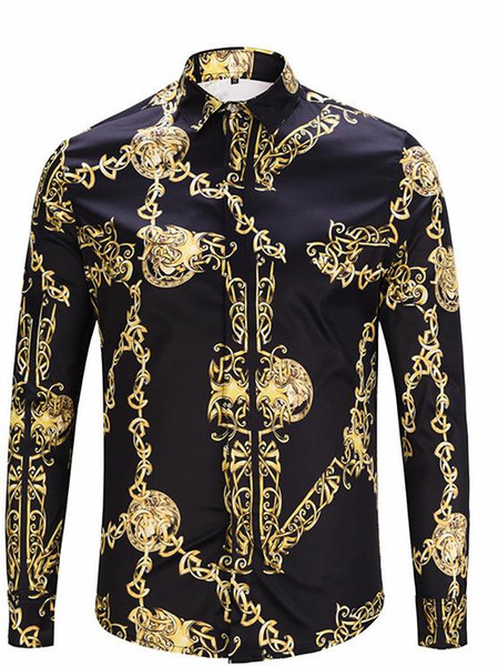 Fashion Designer Golden Chain Print Vintage Mens Shirts Designer Lapel Neck Long Sleeve Luxury Tops Men Casual Tees