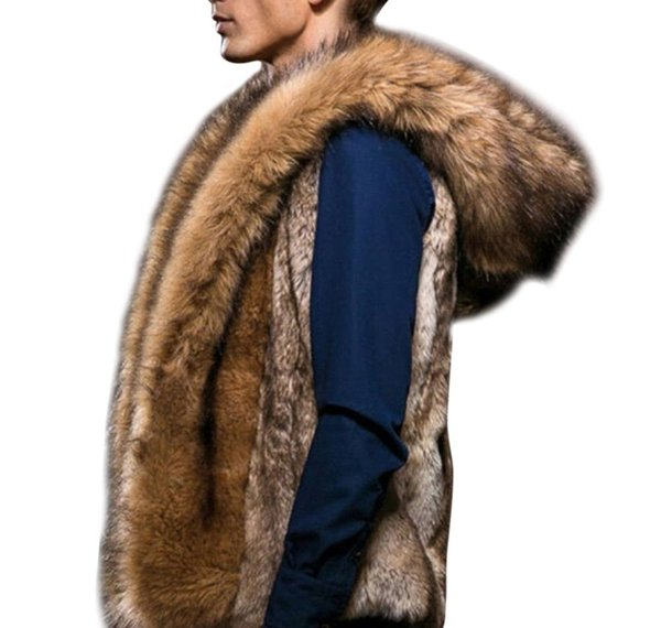 2018 Winter Luxury Fur Vest Warm Mens Sleeveless Jackets Plus Size Hooded Coat Fluffy Faux Fur Jacket Chalecos De Hombre 3XL018396