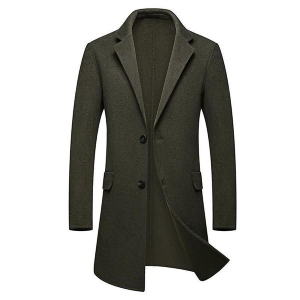Medium Long Trench Coat Men Overcoat Winter Jacket Men Windbreaker Thick Solid Black Trench Coat English Style Costume