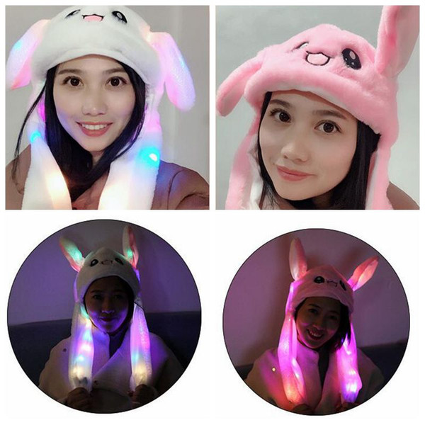LED Plush Moving Rabbit Ears Hat Hand Pinching Bunny Ears Jumping Cap Kids Girls Women Sweet Cute Airbag Cap Easter Gift CCA10994 12pcs