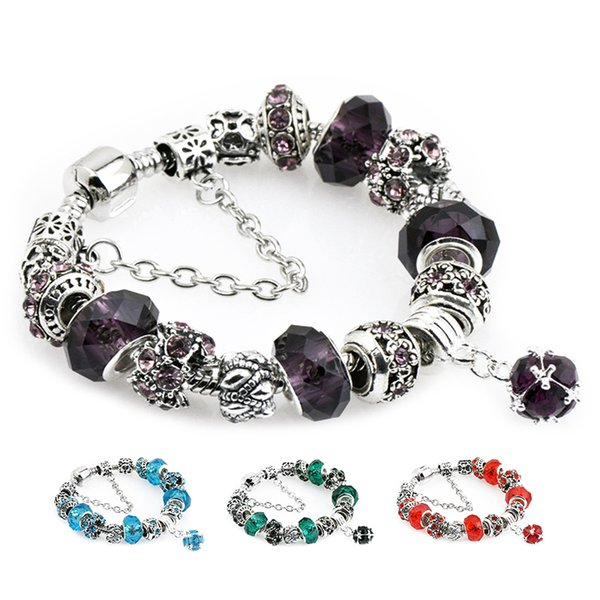 2019 9 colors Faceted Murano Glass Crystal Beads Charms Bracelets Fit Pandora Women Diamond Gemstone Pendant Bangle Female Jewelry gift P136