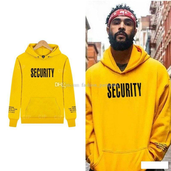Brandneue Tour Sicherheit Hoodie Box Logo Street Sport Herren Designer Hoodies Gelb Loose Fit Pullover Sweatshirt M-XXXL