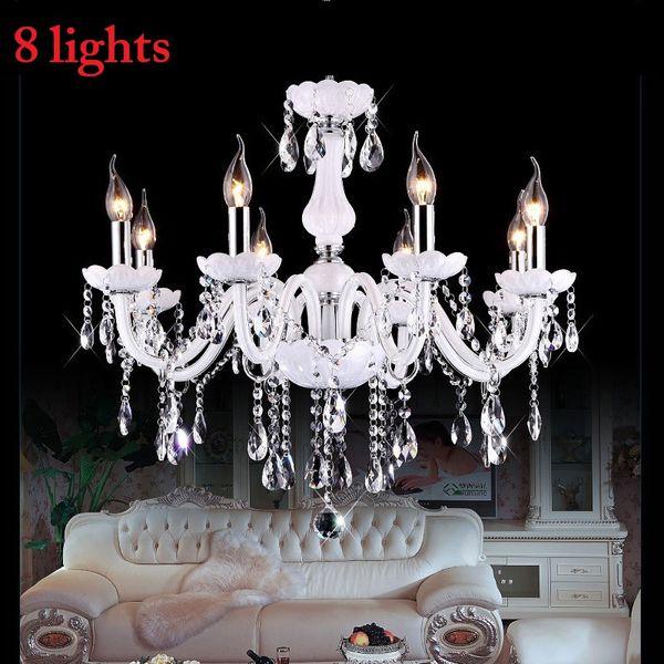 K9 2/4/6/8/10/12/15/18 Arm Lights white LED candle crystal chandelier Living room light Vintage Crystal Chandelier E14 Light