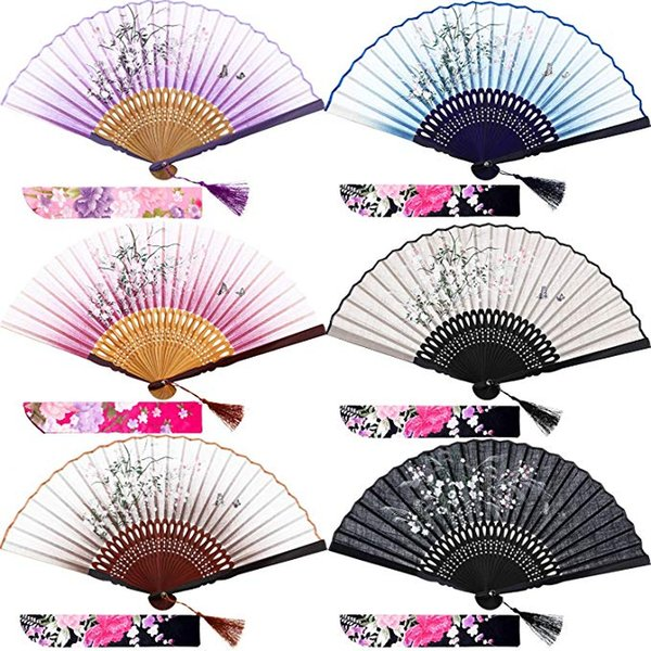 Silk Folding Fans Bamboo Hand Held Grassflowers Chinese Japanese Fan with 2 Fabric Sleeves for Protection, Gift for Women and Girls