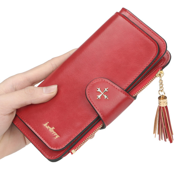 Women's wallet long section 2019 multi-color card position multi-function oil wax leather clutch bag card package