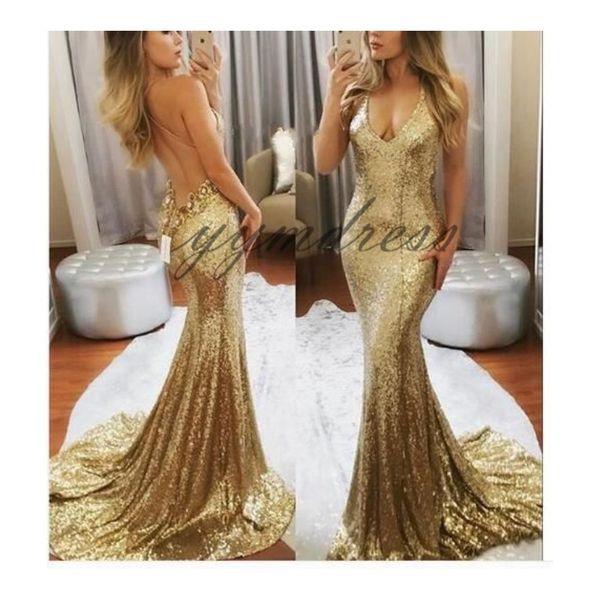 Gold Mermaid Evening Dresses 2019 Deep V Neck Sleeveless Criss Cross Straps Back Sweep Train Prom Gowns vestidos de fiesta Custom Made
