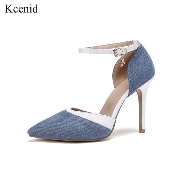 Kcenid Tacones Bombas boda Zapatos estrecha de del Mujeres de aguja Punta Azul Vestido Correa tobillo k8OPn0w