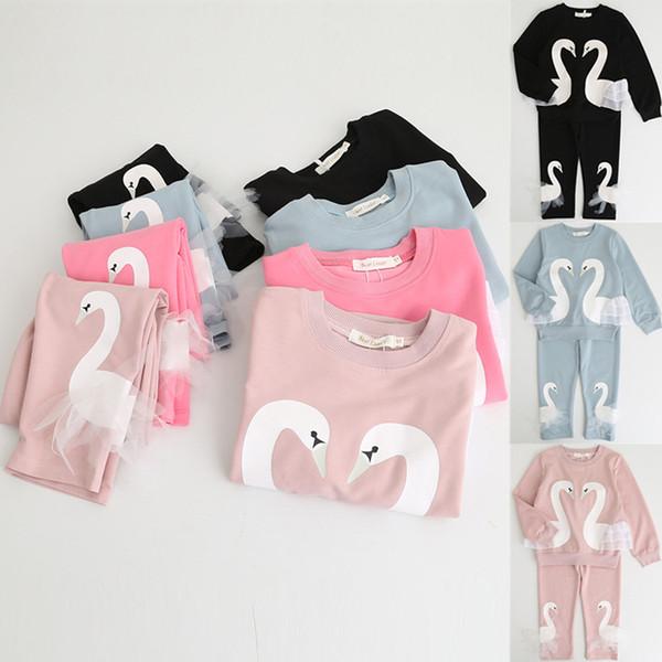 3 couleurs Filles T-shirt + Pantalons 2 Pièces Ensembles INS Filles Vêtements enfants Designer Vetements Filles T-shirt à manches longues animal T-shirt DHL JY145