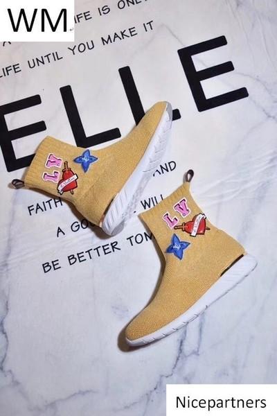 Duping520 Новой мода Желтых носков Высоких ботинки езда дождь ботинки ботинки пинетка тапок ботинки платье