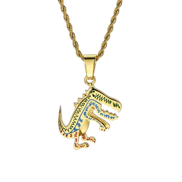 Cartoon Animation Dinosaur Pendant Necklace Hip-hop Jewelry for Men and Women Gold Silver New Hot