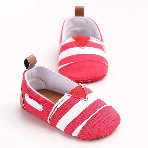 Baby Girls Shoes Fashion Toddler Baby Girl Stripe Canvas Shoe Sneaker Anti-slip Soft Sole First Walker Suit For 0-18M M8Y04