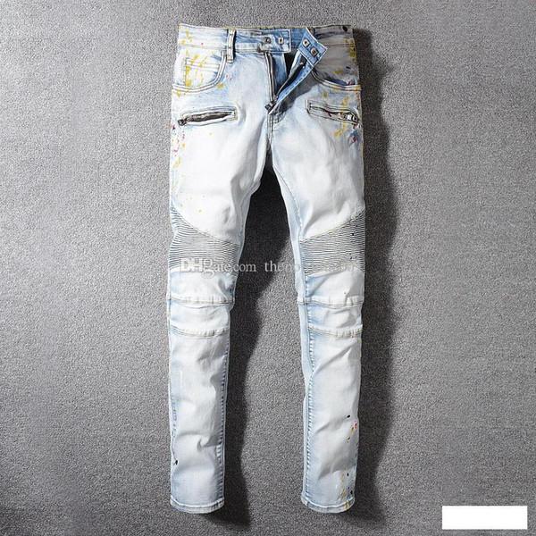Marka Kot Moda Erkek Basit Yaz Hafif Kot Erkek Moda Rahat Katı Klasik Düz Denim Jean Ssplash Mürekkep Tasarımcı Pantolon