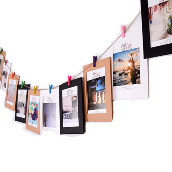 21pcs/set Paper Photo Frame Picture Frame With Wooden Clip and String DIY Hanging Wall Picture Wedding Birthday Party Decoration