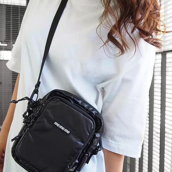 FW17 43th Box Logo Cordura Shoulder Bag Side Sling Messenger Bag Black