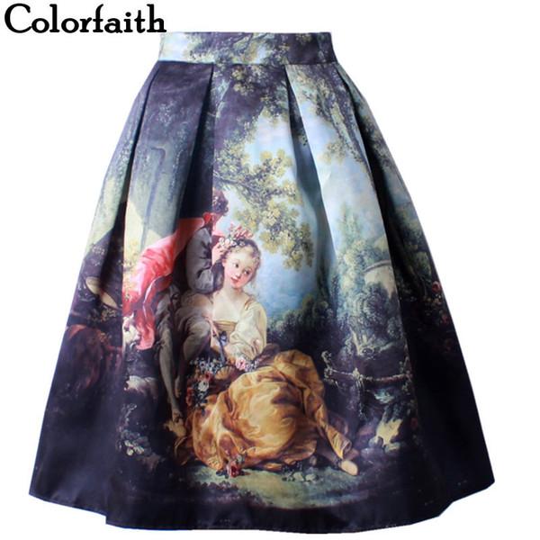 2016 jungfrau maria gedruckt frau rock royal vintage retro fantasie ölgemälde hohe taille midi rock kreis saia femininas sk031 y19071301