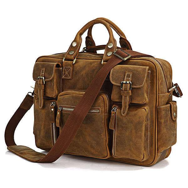 J.M.D Mens Crazy Horse Laptop Leather Bag 16.5