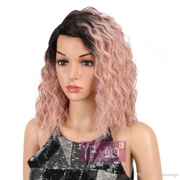 Blonde / Ombre Rose perruque synthétique Kinky perruques frisées pour Front Noir Femmes chaleur Dentelle résistant Perruques Vente chaude à haute température cheveux nouvelle mode