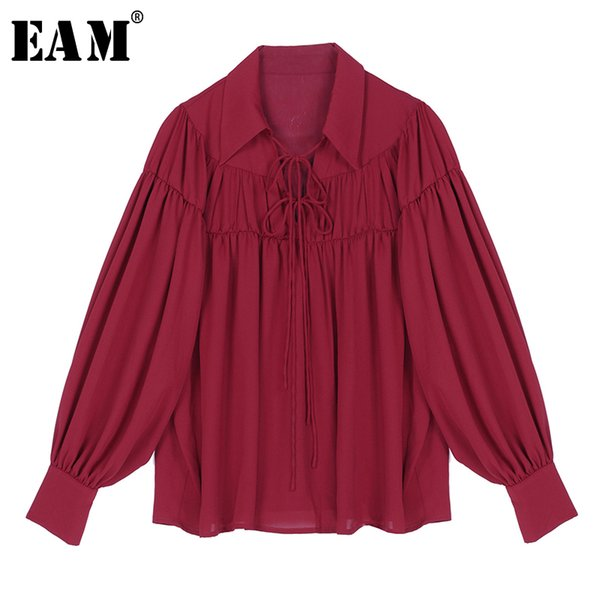 eam] women white bandage pleated temperament blouse new lapel long sleeve loose fit shirt fashion tide spring autumn 2020 1r545