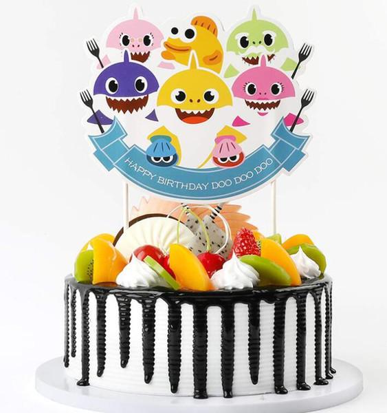 Requin Gâteau Carte Animal Cake Toppers 6pcs / set Cartoon Cupcake insère Carte Joyeux anniversaire cartes de gâteau de requin Décoration de fête GGA1950