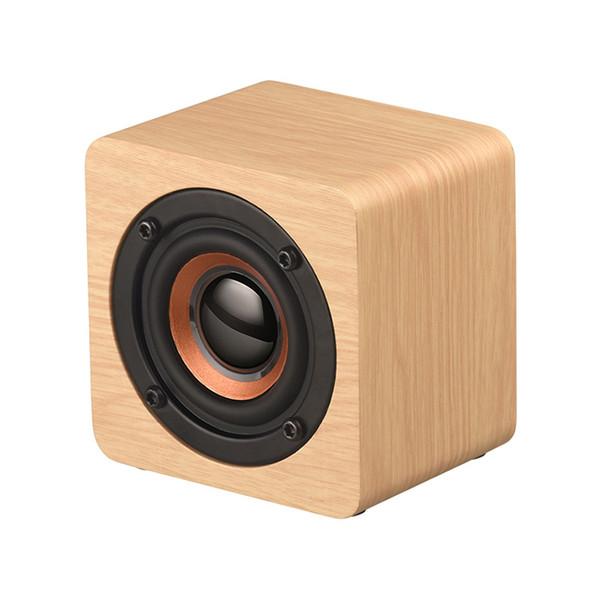 Q1 Mini Haut-parleurs Haut-parleur portable Bluetooth sans fil en bois Caisson de basses basses puissantes Son bar Musique Haut-parleurs pour Smartphone