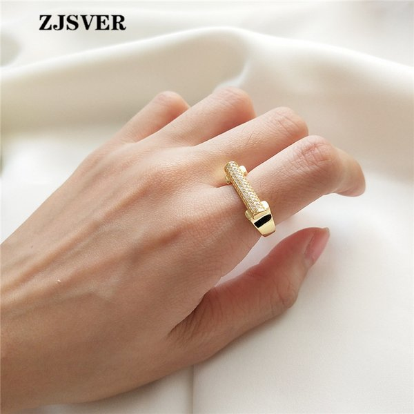 ZJSVER Korean Jewelry 925 Sterling Silver Rings Golden Fashion D Shape Crystal Micro-inlay Women Ring For Festival Gift