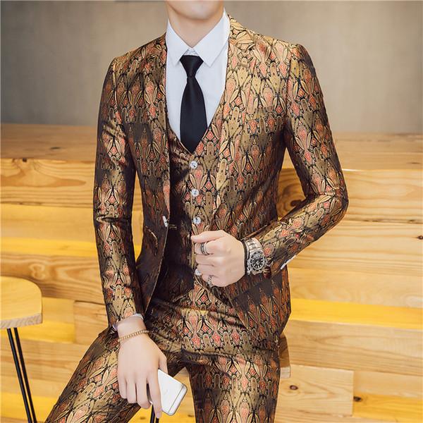 Kostüm Homme Slim Patterns Beschichtung 3 Stücke Sets Männlichen Nachtclub Friseur Casual Dress