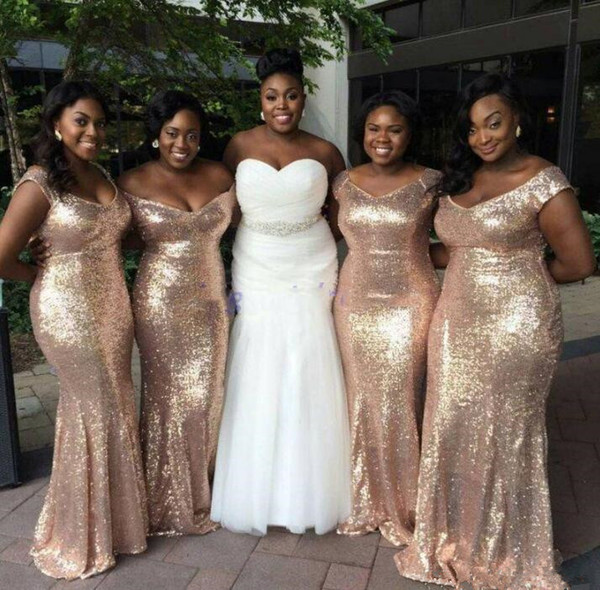 Sparkly Rose Gold Sequins 2019 Mermaid bridesmaid dresses Off-Shoulder Plus size Beach Wedding Guest Dresses Light Gold Champagne Backless