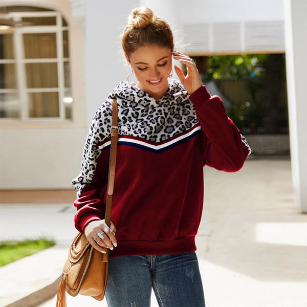 wine red leopard hoodie