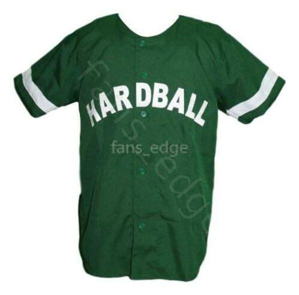 G-Baby Kekambas Hard Ball Movie Baseball Jersey Button Down Green Mens Stitched Jerseys Shirts Size S-XXXL Free Shipping 214