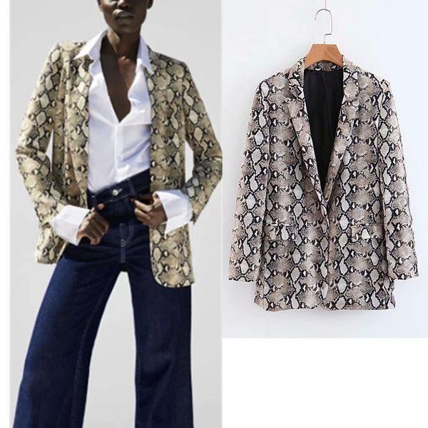 Bayan blazer yeni yılan baskı uzun kollu elbise ceket ceket giyim kadın takım elbise tops tops