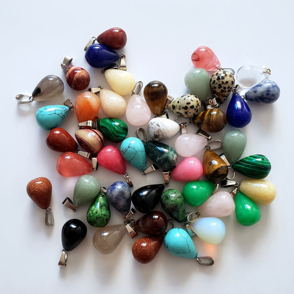 Wholesale 50pcs/lot 2018 Hot Sale Assorted Mixed Natural Stone Water Drop Charms Pendants For Diy Jewelry Making Free Shipping MX190730
