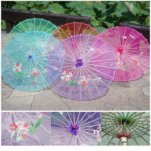 Şeffaf Çin Geleneği Ipek Şemsiye Dans Prop Ipek Şemsiye Fotoğraf Sahne Zanaat Şemsiye Düğün Dekor Şemsiye BH2168 TQQ