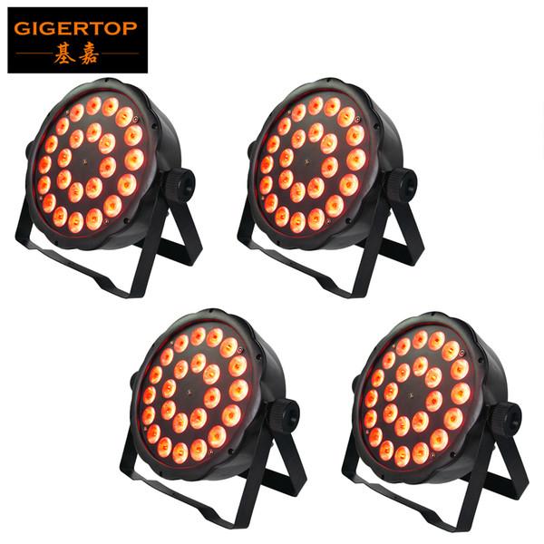 4XLOT 24 x 3 Watt FLAT LED RGB PAR Spot light in Black Housing Noise-Free Operation Adjustable Twin Brackets, DMX IN/OUT TP-P03