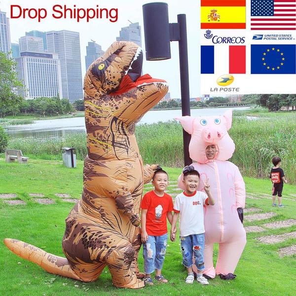T-REX Mascot Inflatable Costume Apparel For halloween Adult Children Anime Dinosaur Animal Jumpsuit Birthday Gift Disfraz Mascot Costumes