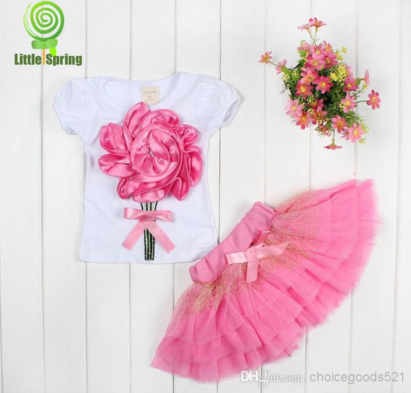 Summer girl dress girl big 3D flower sets kids tutu skirt shirt+skirt 2pcs suits 3 color 20s/l