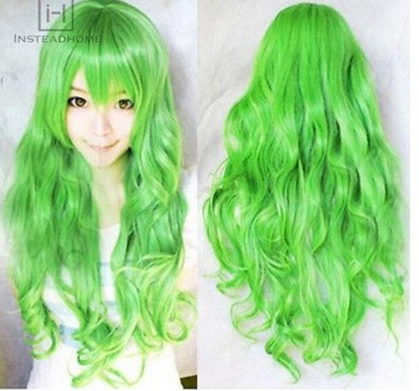 FREE SHIPPING+ + Fashion Womens Men Long Green Curly Wavy Wigs Full Wig Hair Cosplay Anime Party