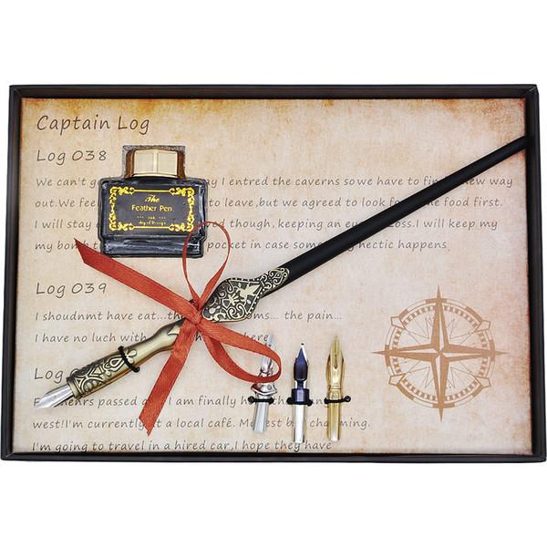 Оптово-мировая серия карт Деревянное погружное перо и наконечники для каллиграфии с подарочной коробкой для чернил