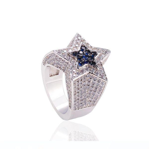 men's zircon star ring sapphire pentagon ring euramerican hip hop fashion accessories copper zircon