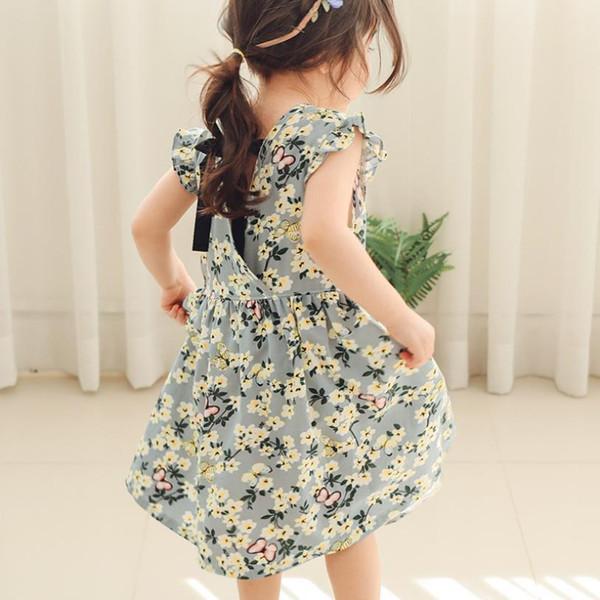 Coreia do estilo marca imprimir dress para o bebê meninas crianças 100% algodão o-neck manga curta dress crianças princesa roupas ws639