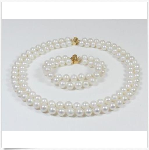 """DOUBLE STRANDS SOUTH SEA AAA 9-10MM WHITE PEARL NECKLACE 18"""" + BRACEELET 8"""" 14K"""