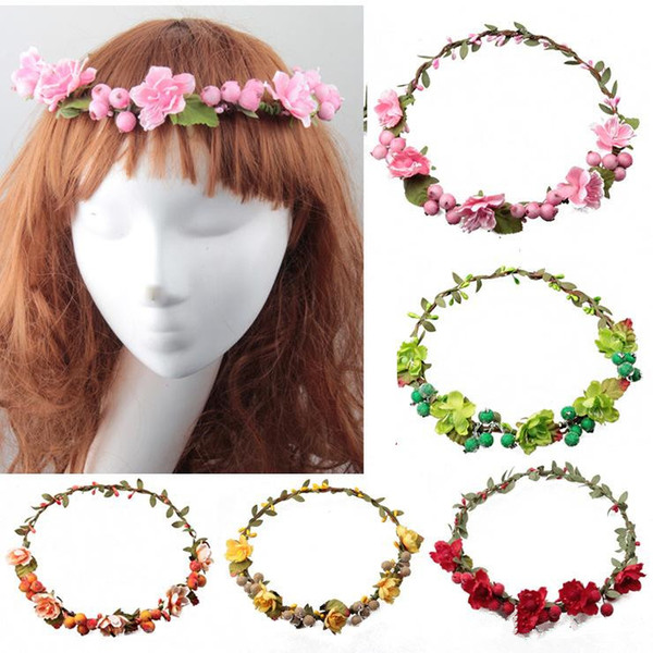 rattan artificial berries flower headpiece headband hairband wreath diy floral bridal garland crown halo bohemian wedding hair accessories