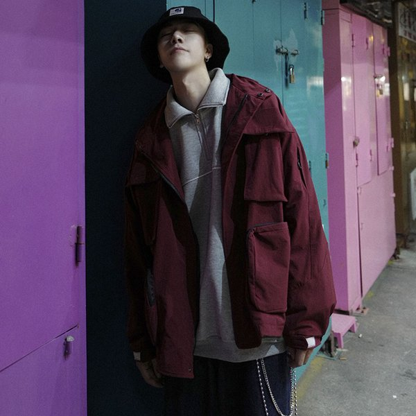 2019 autumn new korean version of the trend of japanese retro multi-pocket tooling lapel men's street solid color casual jacket